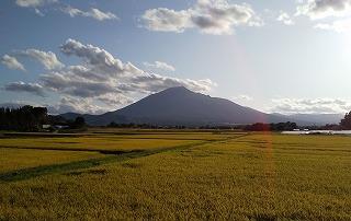 秋の田園風景と岩手山